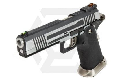 Armorer Works GBB GAS/CO2 DuelFuel Hi-Capa HX10 with Split Slide & Reflex Sight (Silver/Black)