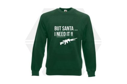 Daft Donkey Christmas Jumper 'Santa I NEED It Sniper' (Green) - Size Medium