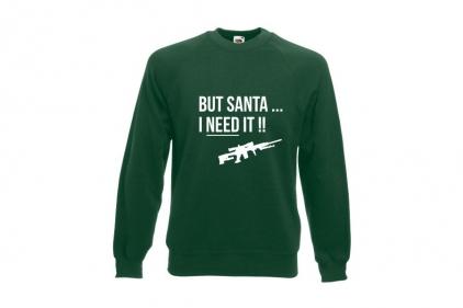 Daft Donkey Christmas Jumper 'Santa I NEED It Sniper' (Green) - Size Medium