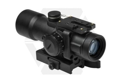 NCS 3.5x32 Blue/Green Illuminating Scope with P4 Sniper Reticule, QR Mount & Reflex Sight Base