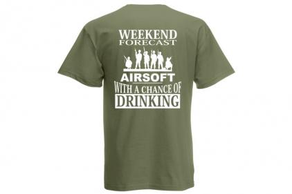 Daft Donkey T-Shirt 'Weekend Forecast' (Olive) - Size Large © Copyright Zero One Airsoft