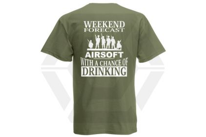 Daft Donkey T-Shirt 'Weekend Forecast' (Olive) - Size Small
