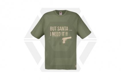 Daft Donkey Christmas T-Shirt 'Santa I NEED It Pistol' (Olive) - Size Extra Extra Large