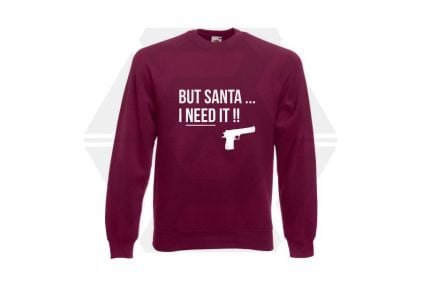 Daft Donkey Christmas Jumper 'Santa I NEED It Pistol' (Burgundy) - Size Large