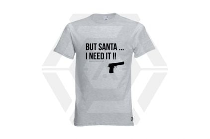 Daft Donkey Christmas T-Shirt 'Santa I NEED It Pistol' (Light Grey) - Size Small