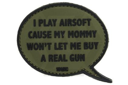 """101 Inc PVC Velcro Patch """"I Play Airsoft"""" (Olive) © Copyright Zero One Airsoft"""