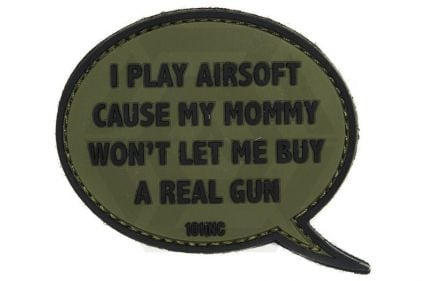 "101 Inc PVC Velcro Patch ""I Play Airsoft"" (Olive)"
