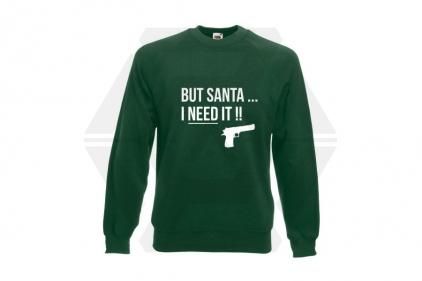 Daft Donkey Christmas Jumper 'Santa I NEED It Pistol' (Green) - Size Large