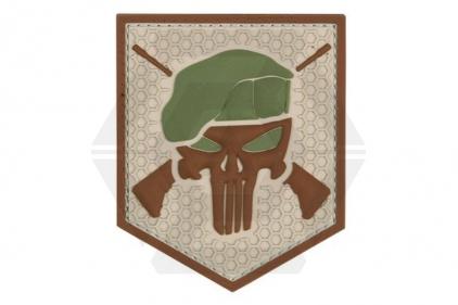 "101 Inc PVC Velcro Patch ""Commando Punisher"" (Brown)"