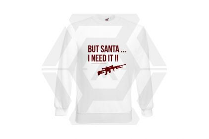 Daft Donkey Christmas Jumper 'Santa I NEED It Sniper' (White) - Size Medium
