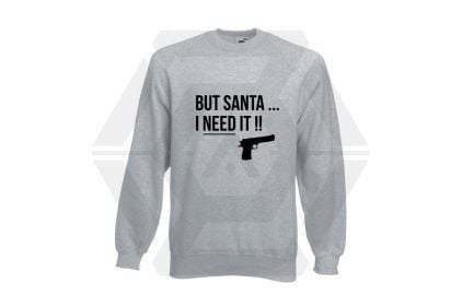 Daft Donkey Christmas Jumper 'Santa I NEED It Pistol' (Light Grey) - Size Large