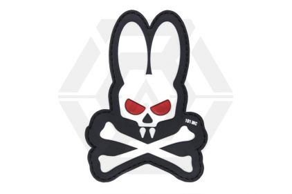 "101 Inc PVC Velcro Patch ""Skull Bunny"" (White)"