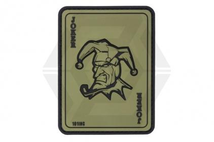 """101 Inc PVC Velcro Patch """"Joker"""" (Olive)"""