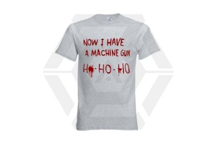 Daft Donkey Christmas T-Shirt 'Bloody Ho Ho Ho' (Light Grey) - Size Extra Extra Large
