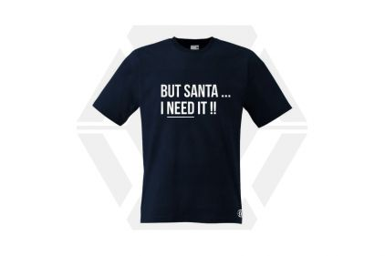 Daft Donkey Christmas T-Shirt 'Santa I NEED It' (Dark Navy) - Size Large