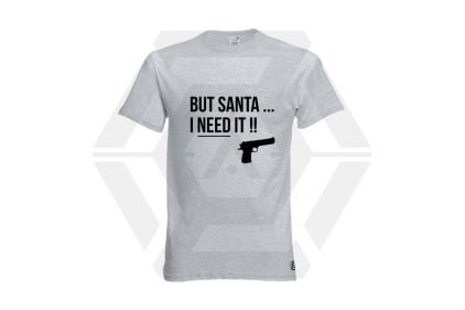 Daft Donkey Christmas T-Shirt 'Santa I NEED It Pistol' (Light Grey) - Size Extra Extra Large