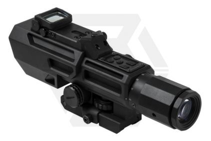 NCS 3-9x42 Scope with Blue/Red Illuminating P4 Sniper Reticle & Flip-Up Reflex Red Dot Sight