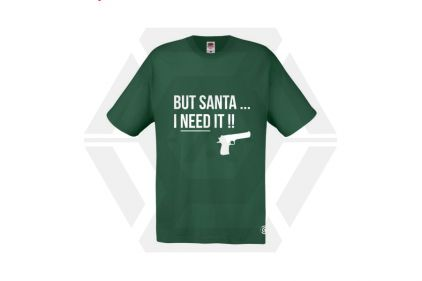 Daft Donkey Christmas T-Shirt 'Santa I NEED It Pistol' (Green) - Size Small