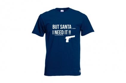 Daft Donkey Christmas T-Shirt 'Santa I NEED It Pistol' (Navy) - Size Large