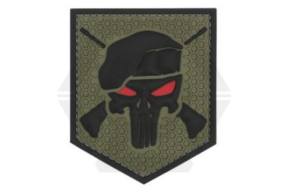 "101 Inc PVC Velcro Patch ""Commando Punisher"" (Olive)"