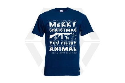 Daft Donkey Christmas T-Shirt 'Merry Christmas You Filthy Animal' (Navy) - Size Medium - £19.95