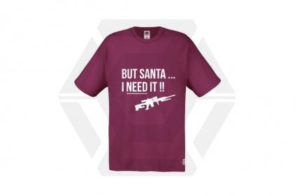 Daft Donkey Christmas T-Shirt 'Santa I NEED It Sniper' (Burgundy) - Size Small