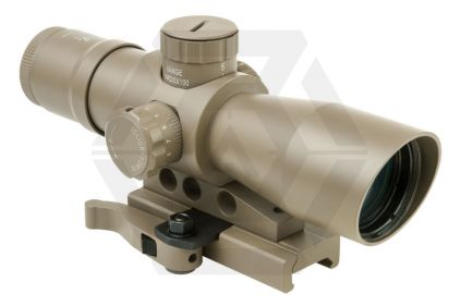 NCS 4x32 Blue/Green Illuminating Scope with Mil-Dot Reticule & QR Mount (Tan)
