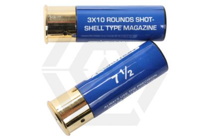 Aim Top Shells for Tokyo Marui Shotgun (2x 30rds) (Blue) © Copyright Zero One Airsoft