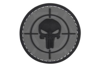 "101 Inc PVC Velcro Patch ""Punisher Sight"" (Grey) © Copyright Zero One Airsoft"