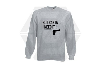 Daft Donkey Christmas Jumper 'Santa I NEED It Pistol' (Light Grey) - Size Small