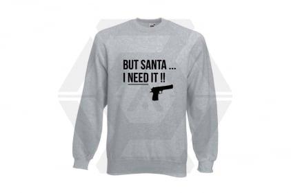Daft Donkey Christmas Jumper 'Santa I NEED It Pistol' (Light Grey) - Size Small