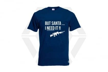 Daft Donkey Christmas T-Shirt 'Santa I NEED It Sniper' (Navy) - Size Large