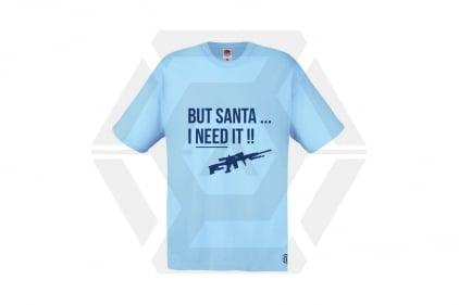Daft Donkey Christmas T-Shirt 'Santa I NEED It Sniper' (Blue) - Size Large