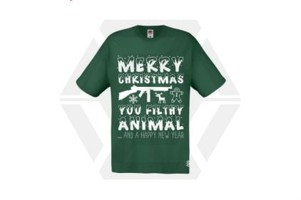 Daft Donkey Christmas T-Shirt 'Merry Christmas You Filthy Animal' (Green) - Size Large - £19.95