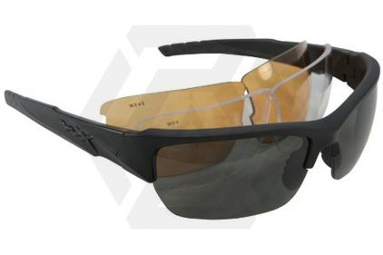WileyX Valor Glasses with Black Frame and Smoke/Clear/Light Rust Lenses © Copyright Zero One Airsoft