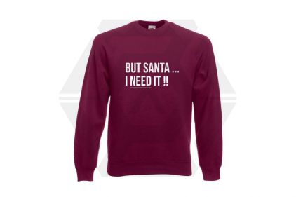 Daft Donkey Christmas Jumper 'Santa I NEED It' (Burgundy) - Size Small