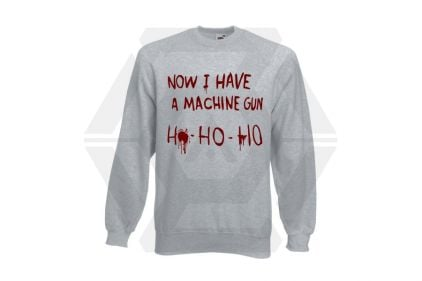 Daft Donkey Christmas Jumper 'Bloody Ho Ho Ho' (Light Grey) - Size Medium