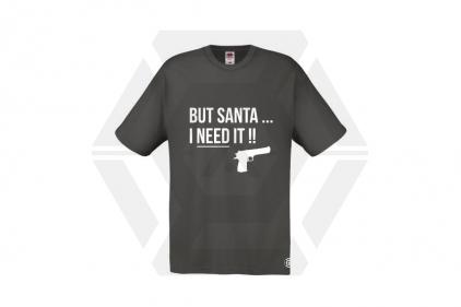 Daft Donkey Christmas T-Shirt 'Santa I NEED It Pistol' (Grey) - Size Small