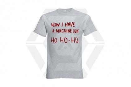 Daft Donkey Christmas T-Shirt 'Ho Ho Ho' (Light Grey) - Size Small
