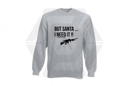 Daft Donkey Christmas Jumper 'Santa I NEED It Sniper' (Light Grey) - Size Medium