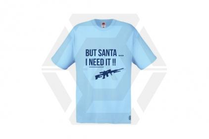 Daft Donkey Christmas T-Shirt 'Santa I NEED It Sniper' (Blue) - Size Extra Large