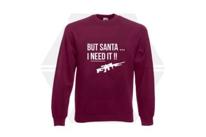 Daft Donkey Christmas Jumper 'Santa I NEED It Sniper' (Burgundy) - Size Large