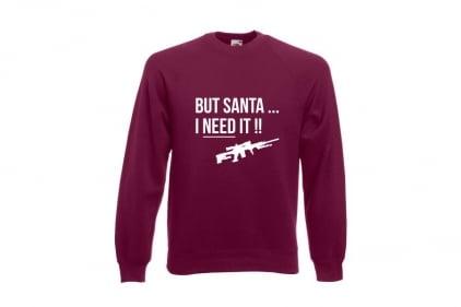 Daft Donkey Christmas Jumper 'Santa I NEED It Sniper' (Burgundy) - Size Large
