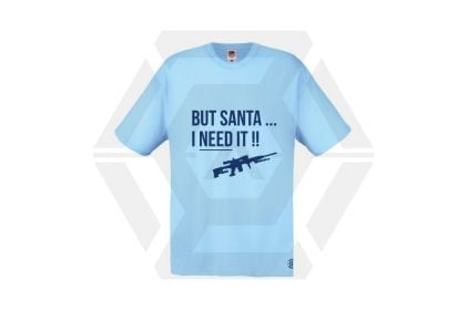Daft Donkey Christmas T-Shirt 'Santa I NEED It Pistol' (Blue) - Size Medium