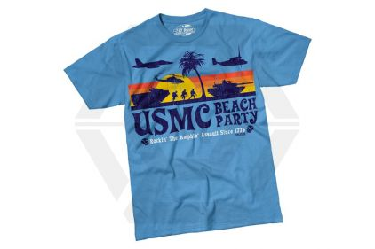 7.62 Design T-Shirt 'USMC Beach Party' (Blue) - Size Large