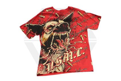7.62 Design T-Shirt 'USMC War Dog' (Red) - Size Large
