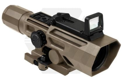 NCS 3-9x42 Scope with Blue/Red Illuminating P4 Sniper Reticle & Flip-Up Reflex Red Dot Sight (Tan) © Copyright Zero One Airsoft