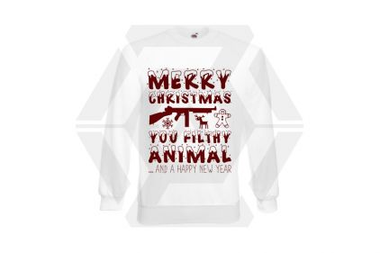 Daft Donkey Christmas Jumper 'Merry Christmas You Filthy Animal' (White) - Size Extra Extra Large