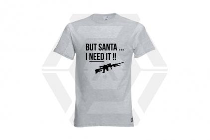 Daft Donkey Christmas T-Shirt 'Santa I NEED It Sniper' (Light Grey) - Size Small