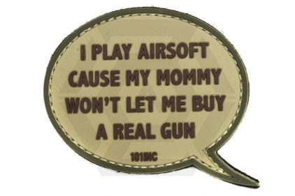 "101 Inc PVC Velcro Patch ""I Play Airsoft"" (Brown)"